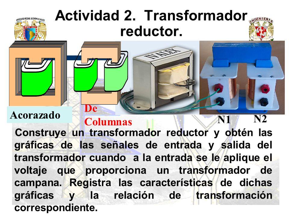 Actividad 2. Transformador reductor. Construye un transformador reductor y obtén las gráficas de las señales de entrada y salida del transformador cua