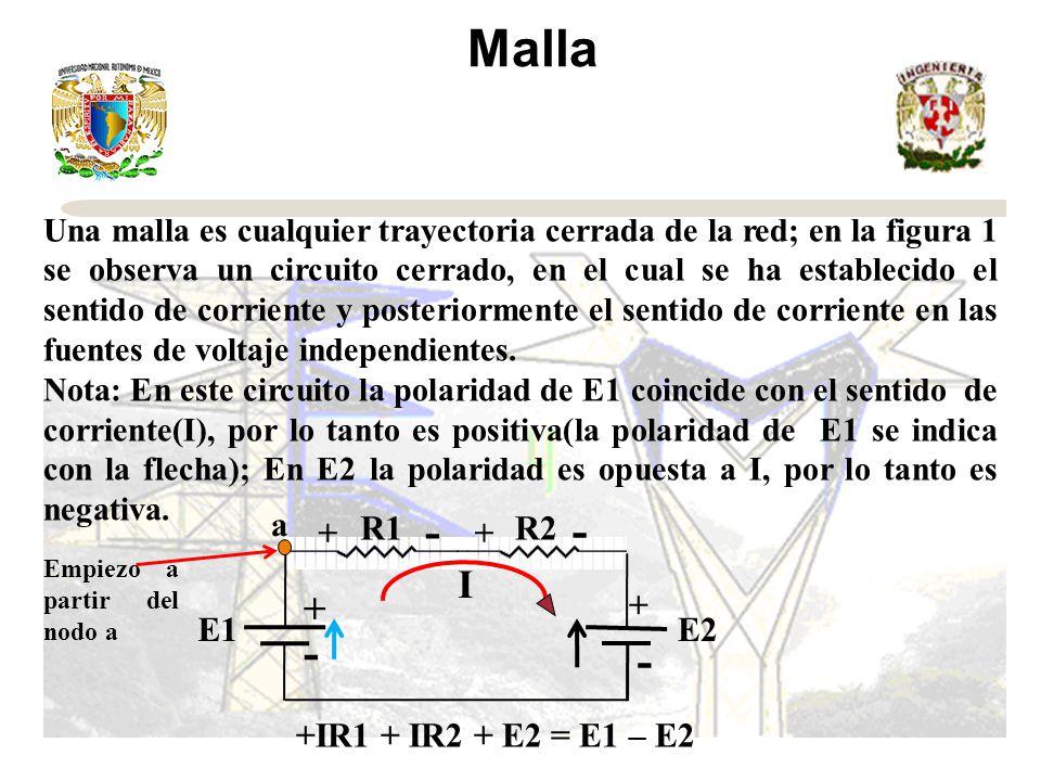 Malla Una malla es cualquier trayectoria cerrada de la red; en la figura 1 se observa un circuito cerrado, en el cual se ha establecido el sentido de corriente y posteriormente el sentido de corriente en las fuentes de voltaje independientes.
