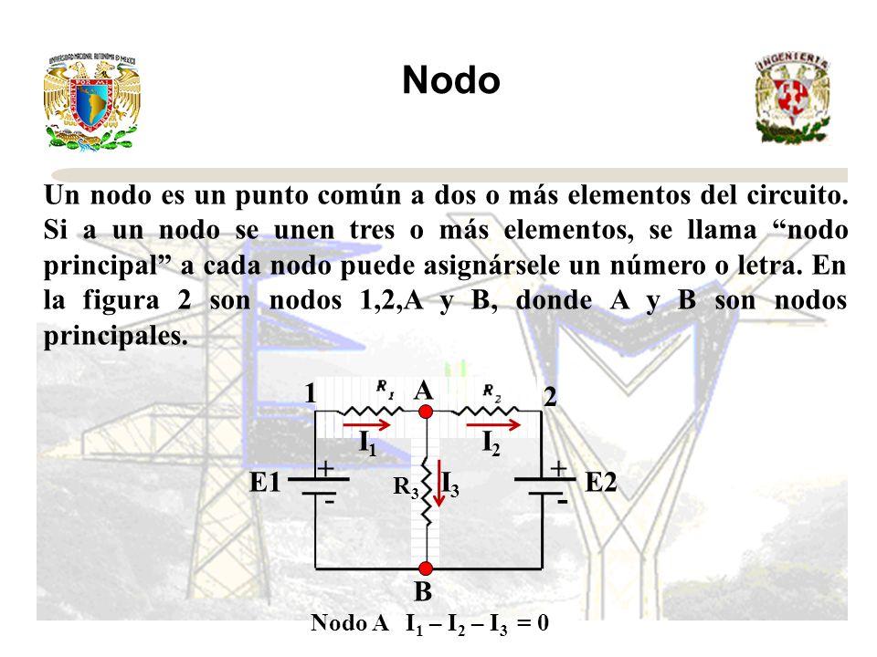 Nodo Un nodo es un punto común a dos o más elementos del circuito.