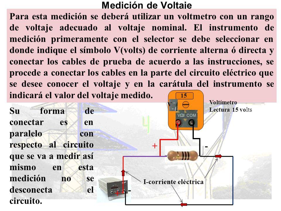 Medición de corriente eléctrica Para esta medición se deberá utilizar un amperímetro con un rango adecuado a la corriente nominal.