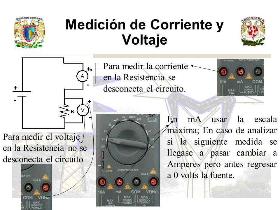 Medición de Corriente y Voltaje Para medir la corriente en la Resistencia se desconecta el circuito.
