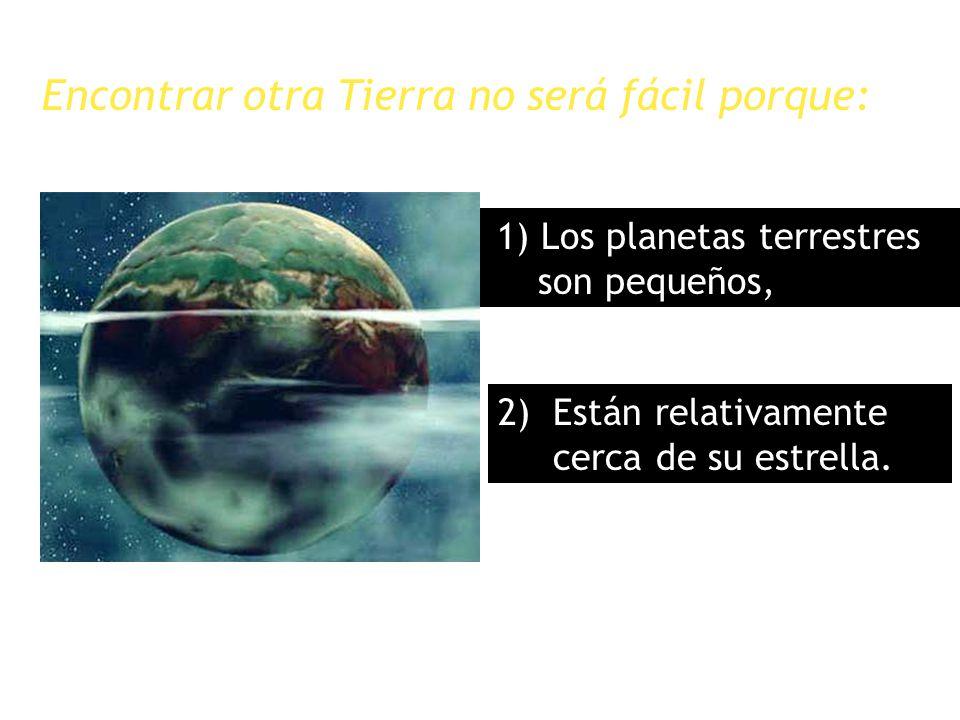 Encontrar otra Tierra no será fácil porque: 1) Los planetas terrestres son pequeños, 2) Están relativamente cerca de su estrella.