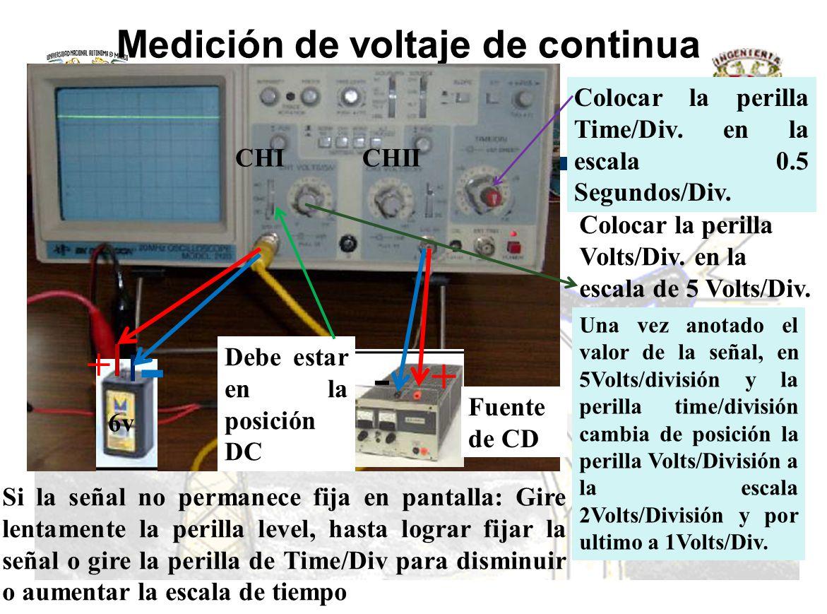 Medición de voltaje de continua Una vez anotado el valor de la señal, en 5Volts/división y la perilla time/división cambia de posición la perilla Volt