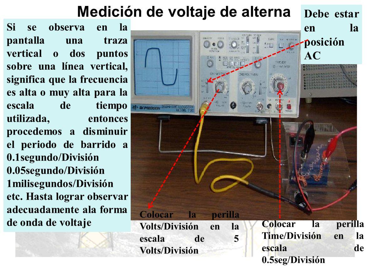 Medición de voltaje de alterna Si se observa en la pantalla una traza vertical o dos puntos sobre una línea vertical, significa que la frecuencia es a