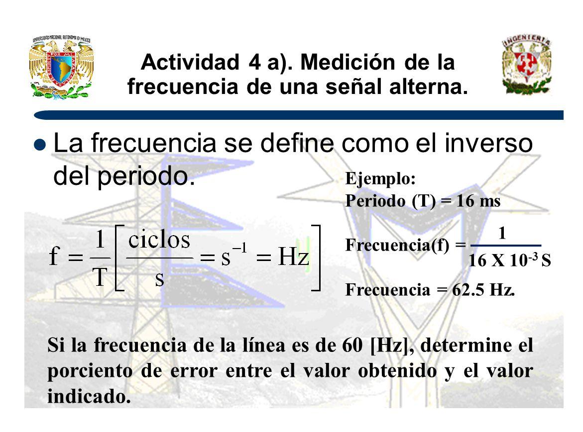 Actividad 4 a). Medición de la frecuencia de una señal alterna. La frecuencia se define como el inverso del periodo. Si la frecuencia de la línea es d
