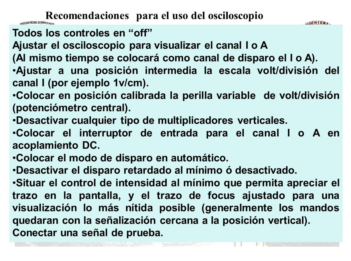 Todos los controles en off Ajustar el osciloscopio para visualizar el canal I o A (Al mismo tiempo se colocará como canal de disparo el I o A). Ajusta