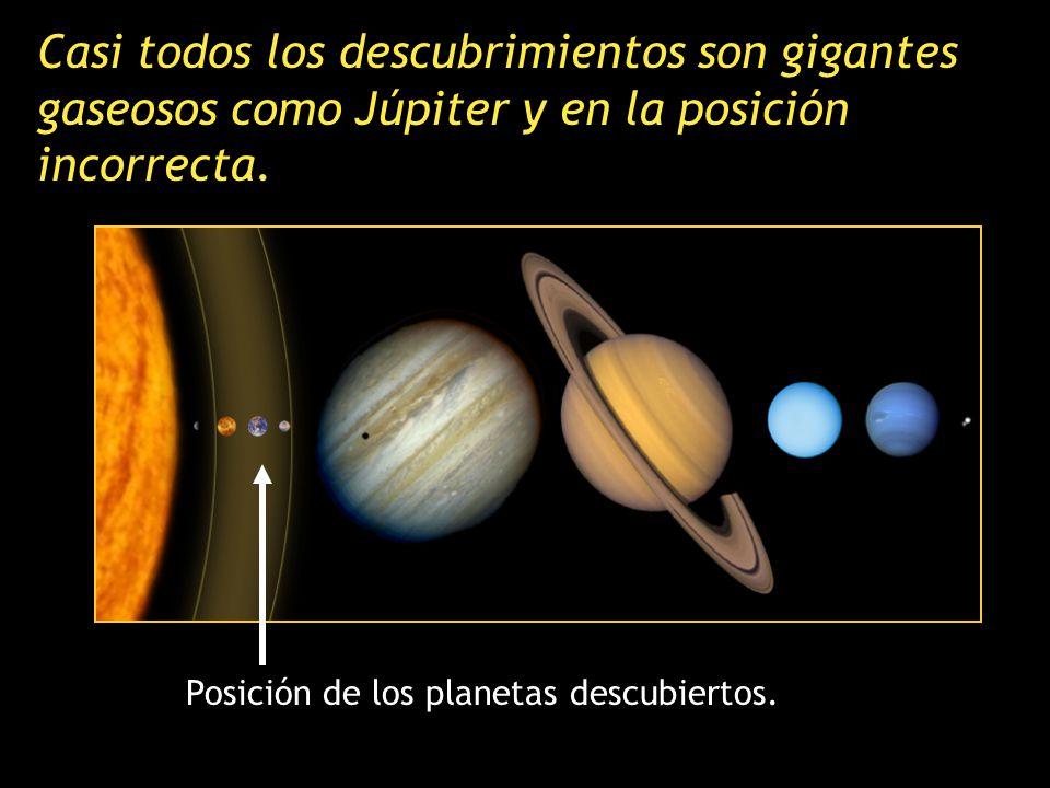 Los planetas descubiertos hasta ahora tienen masas parecidas a las de Júpiter. El diámetro de Júpiter es once veces mayor que el de la Tierra, y tiene