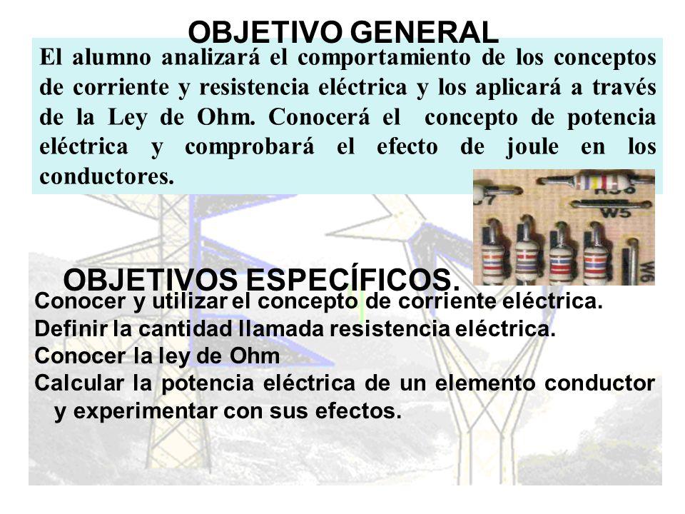 OBJETIVOS ESPECÍFICOS. Conocer y utilizar el concepto de corriente eléctrica. Definir la cantidad llamada resistencia eléctrica. Conocer la ley de Ohm