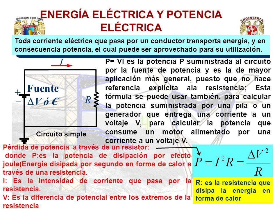 ENERGÍA ELÉCTRICA Y POTENCIA ELÉCTRICA Pérdida de potencia a través de un resistor: donde P:es la potencia de disipación por efecto joule(Energía disi