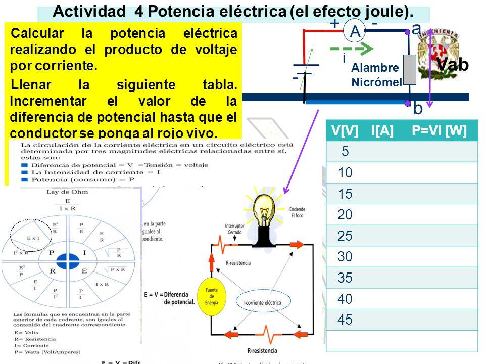 Actividad 4 Potencia eléctrica (el efecto joule). Calcular la potencia eléctrica realizando el producto de voltaje por corriente. Llenar la siguiente