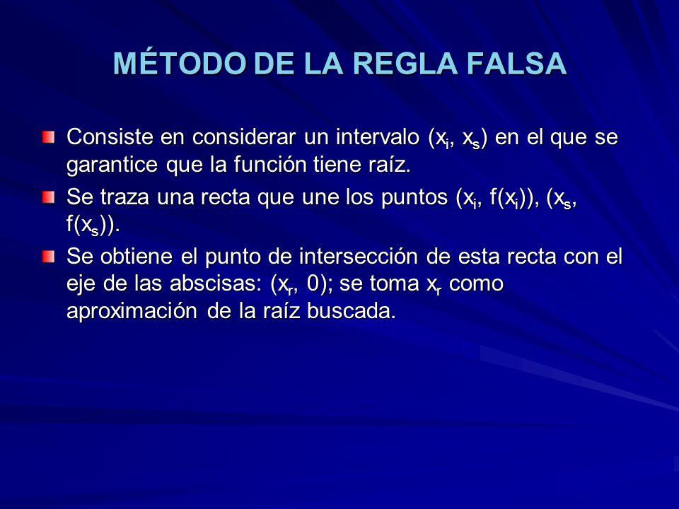 MÉTODO DE LA REGLA FALSA Consiste en considerar un intervalo (x i, x s ) en el que se garantice que la función tiene raíz.