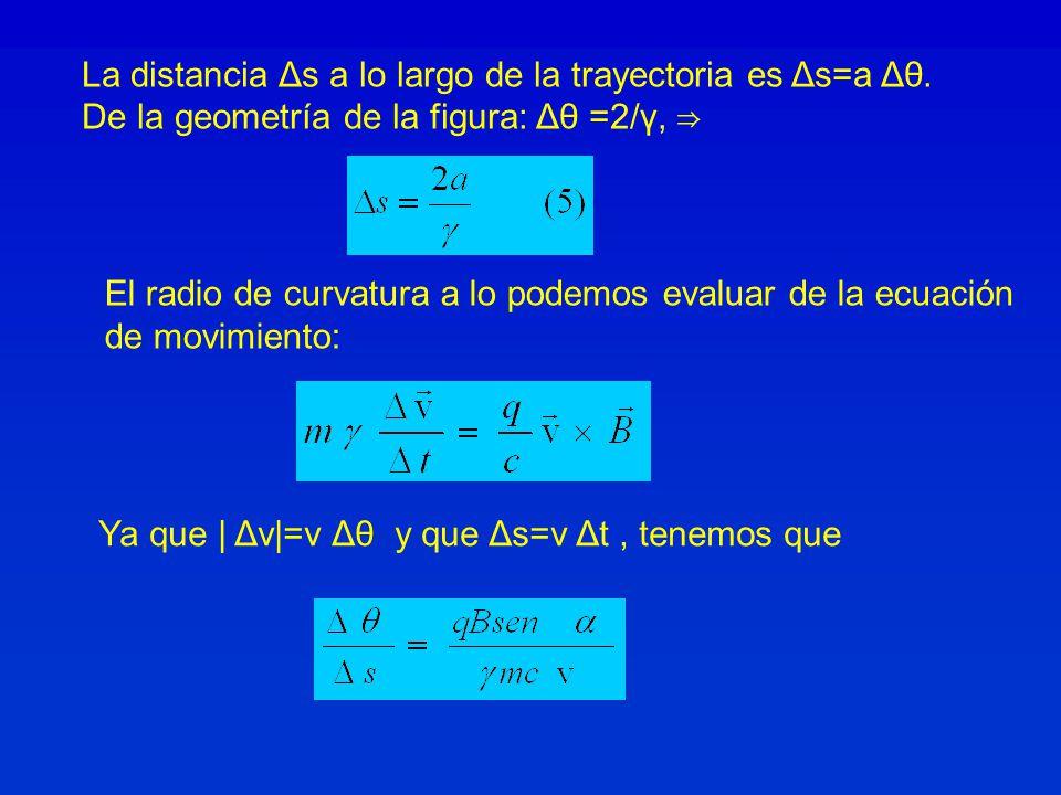 La distancia Δs a lo largo de la trayectoria es Δs=a Δθ. De la geometría de la figura: Δθ =2/γ, El radio de curvatura a lo podemos evaluar de la ecuac