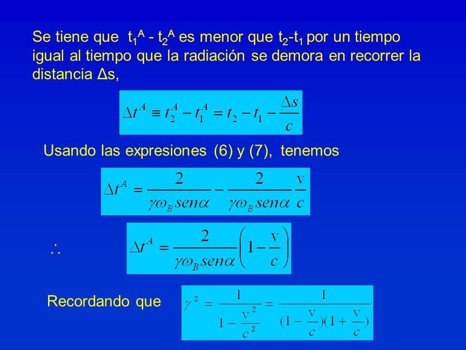 Se tiene que t 1 A - t 2 A es menor que t 2 -t 1 por un tiempo igual al tiempo que la radiación se demora en recorrer la distancia Δs, Usando las expresiones (6) y (7), tenemos Recordando que