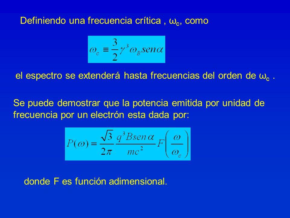 Definiendo una frecuencia crítica, ω c, como Se puede demostrar que la potencia emitida por unidad de frecuencia por un electrón esta dada por: donde
