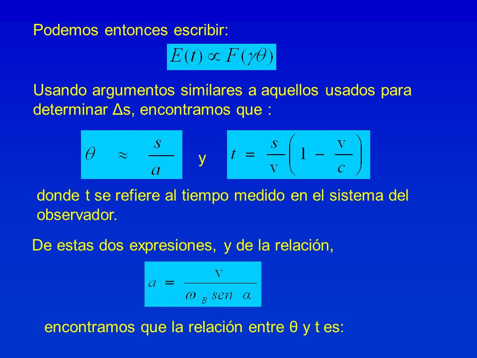 Podemos entonces escribir: Usando argumentos similares a aquellos usados para determinar Δs, encontramos que : y donde t se refiere al tiempo medido e