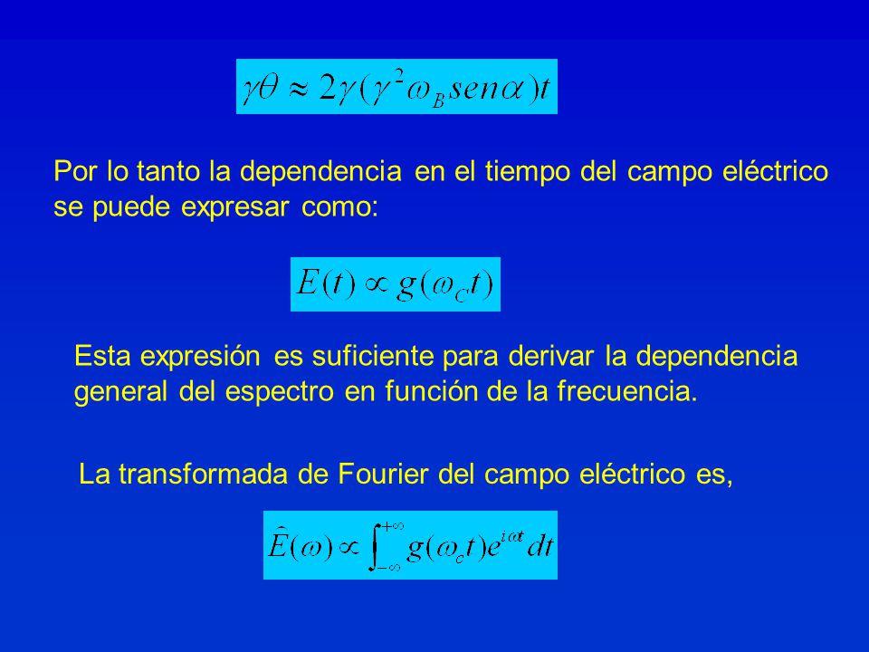 Por lo tanto la dependencia en el tiempo del campo eléctrico se puede expresar como: Esta expresión es suficiente para derivar la dependencia general