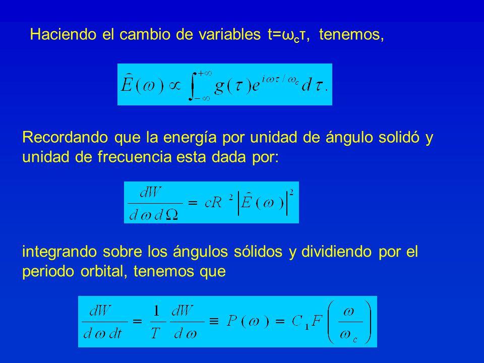 Haciendo el cambio de variables t=ω c τ, tenemos, Recordando que la energía por unidad de ángulo solidó y unidad de frecuencia esta dada por: integrando sobre los ángulos sólidos y dividiendo por el periodo orbital, tenemos que