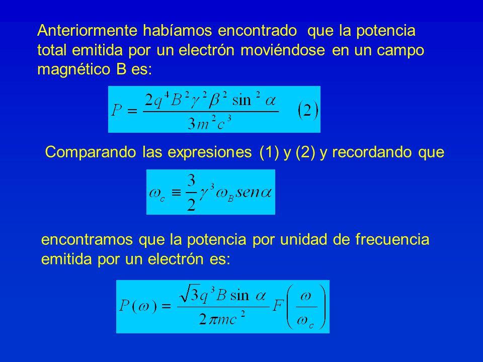Anteriormente habíamos encontrado que la potencia total emitida por un electrón moviéndose en un campo magnético B es: Comparando las expresiones (1) y (2) y recordando que encontramos que la potencia por unidad de frecuencia emitida por un electrón es:
