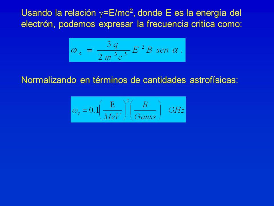 Usando la relación =E/mc 2, donde E es la energía del electrón, podemos expresar la frecuencia critica como: Normalizando en términos de cantidades astrofísicas: