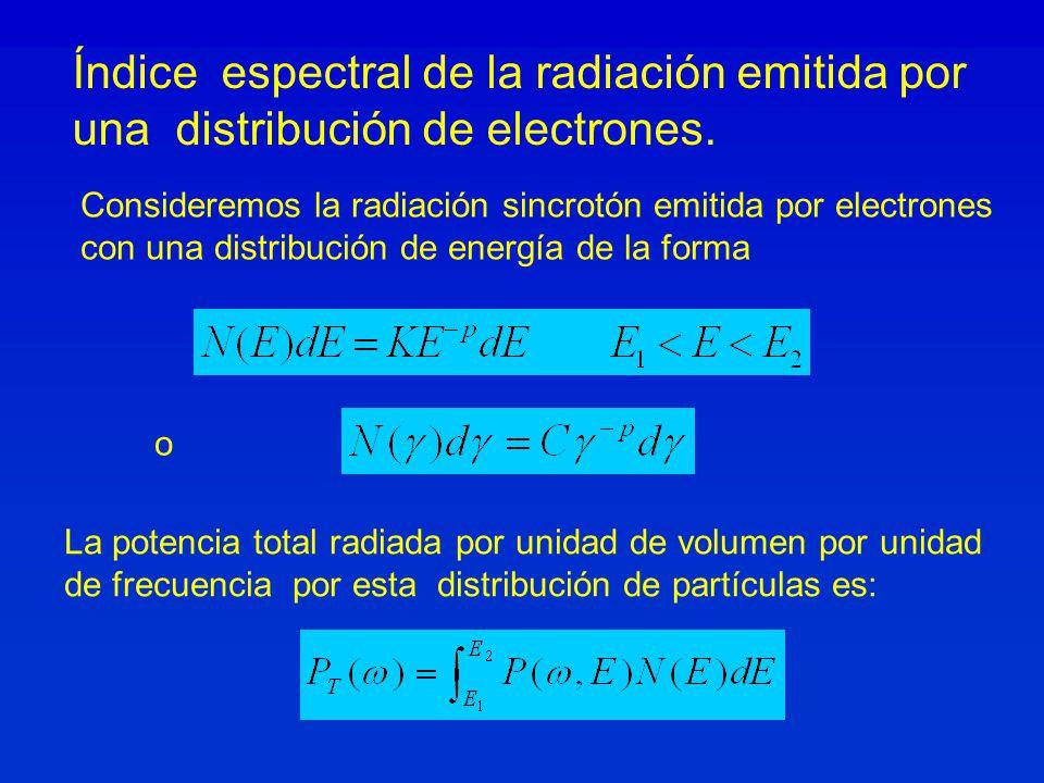 Índice espectral de la radiación emitida por una distribución de electrones. o La potencia total radiada por unidad de volumen por unidad de frecuenci