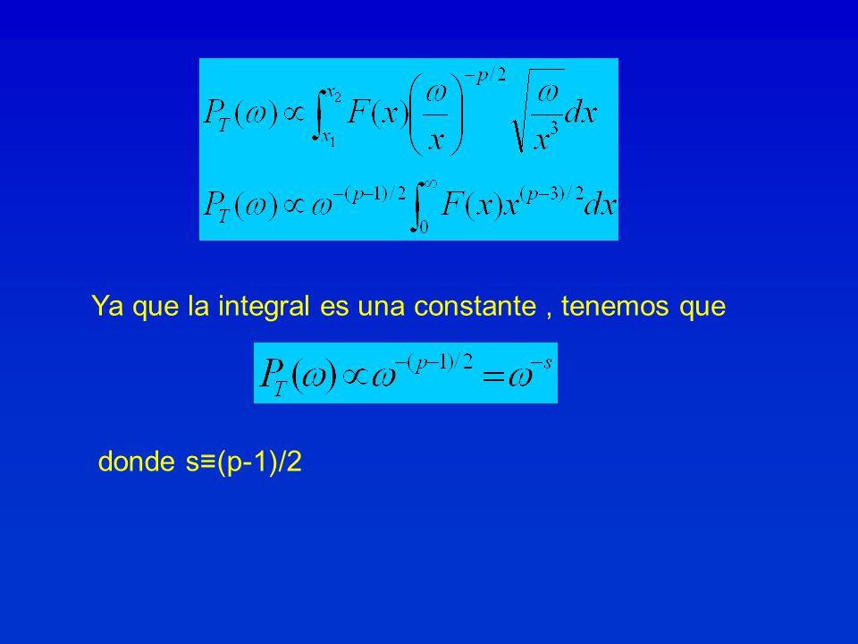 Ya que la integral es una constante, tenemos que donde s(p-1)/2