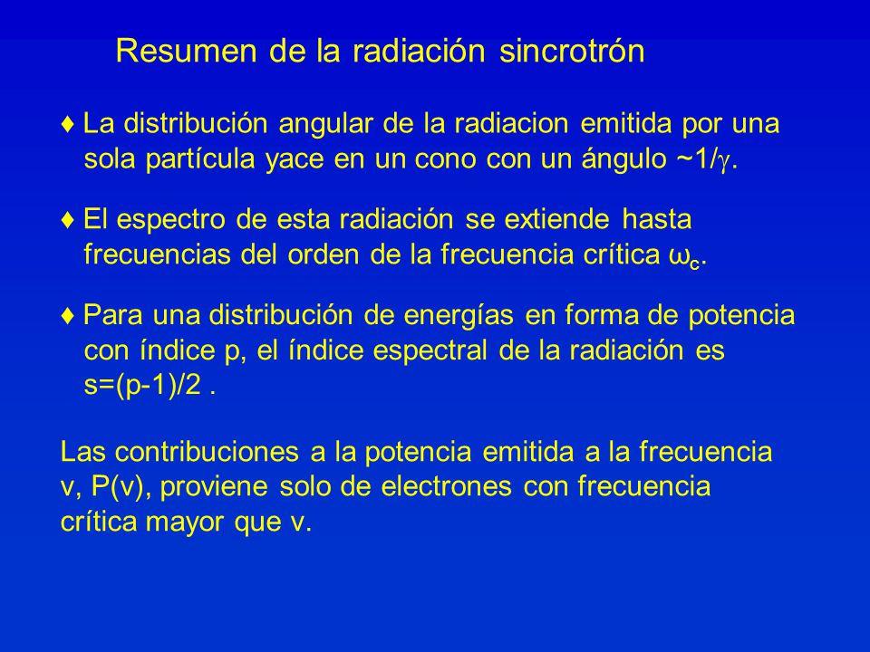 Las contribuciones a la potencia emitida a la frecuencia ν, P(ν), proviene solo de electrones con frecuencia crítica mayor que ν. Resumen de la radiac