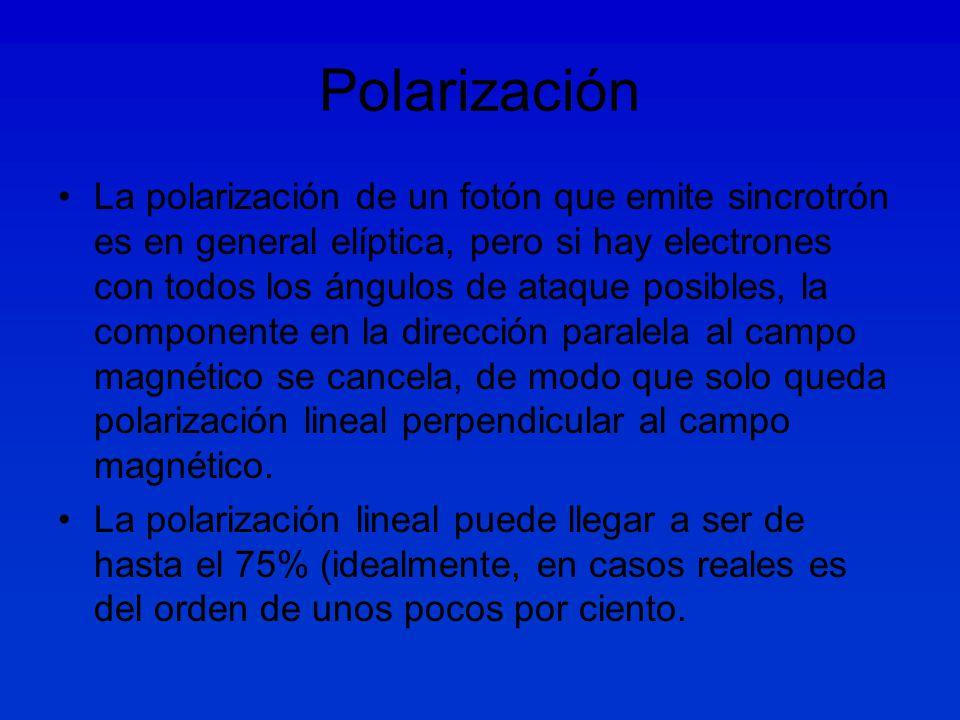Polarización La polarización de un fotón que emite sincrotrón es en general elíptica, pero si hay electrones con todos los ángulos de ataque posibles, la componente en la dirección paralela al campo magnético se cancela, de modo que solo queda polarización lineal perpendicular al campo magnético.
