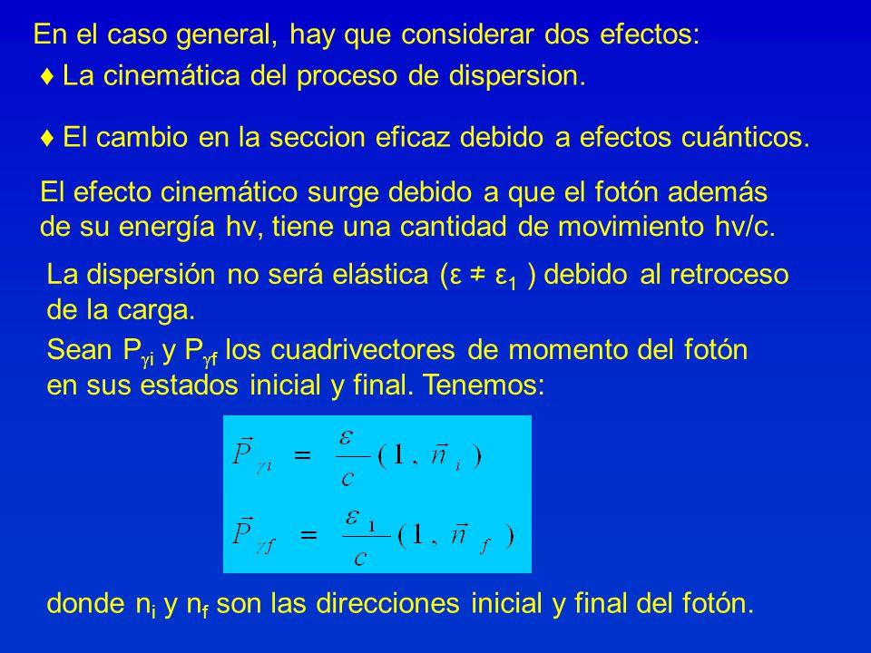El efecto cinemático surge debido a que el fotón además de su energía hν, tiene una cantidad de movimiento hν/c. donde n i y n f son las direcciones i
