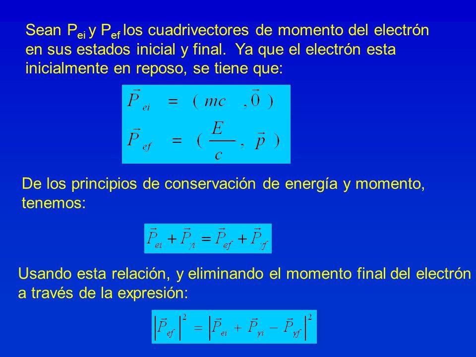 Sean P ei y P ef los cuadrivectores de momento del electrón en sus estados inicial y final. Ya que el electrón esta inicialmente en reposo, se tiene q