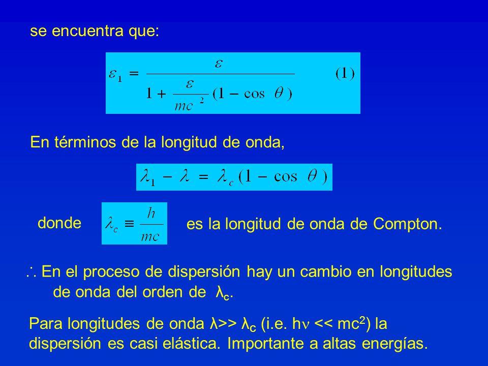 se encuentra que: En términos de la longitud de onda, donde es la longitud de onda de Compton. En el proceso de dispersión hay un cambio en longitudes