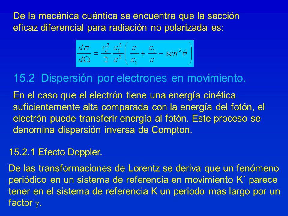 De la mecánica cuántica se encuentra que la sección eficaz diferencial para radiación no polarizada es: 15.2.1 Efecto Doppler. De las transformaciones