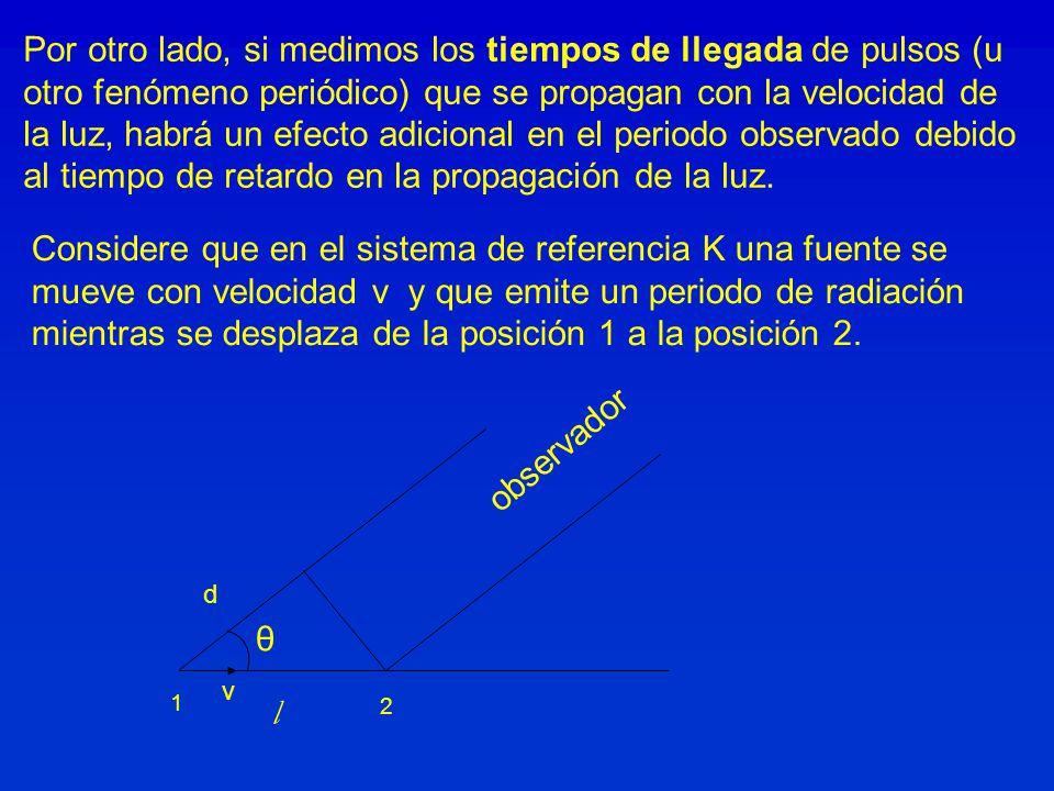 Por otro lado, si medimos los tiempos de llegada de pulsos (u otro fenómeno periódico) que se propagan con la velocidad de la luz, habrá un efecto adi
