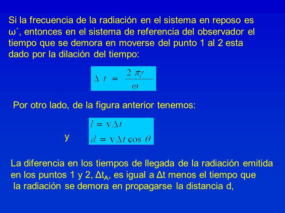 Por otro lado, de la figura anterior tenemos: y Si la frecuencia de la radiación en el sistema en reposo es ω´, entonces en el sistema de referencia del observador el tiempo que se demora en moverse del punto 1 al 2 esta dado por la dilación del tiempo: La diferencia en los tiempos de llegada de la radiación emitida en los puntos 1 y 2, Δt A, es igual a Δt menos el tiempo que la radiación se demora en propagarse la distancia d,