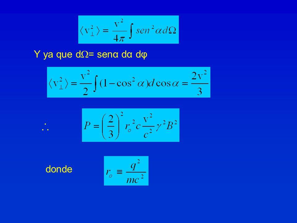 Y ya que d = senα dα dφ donde
