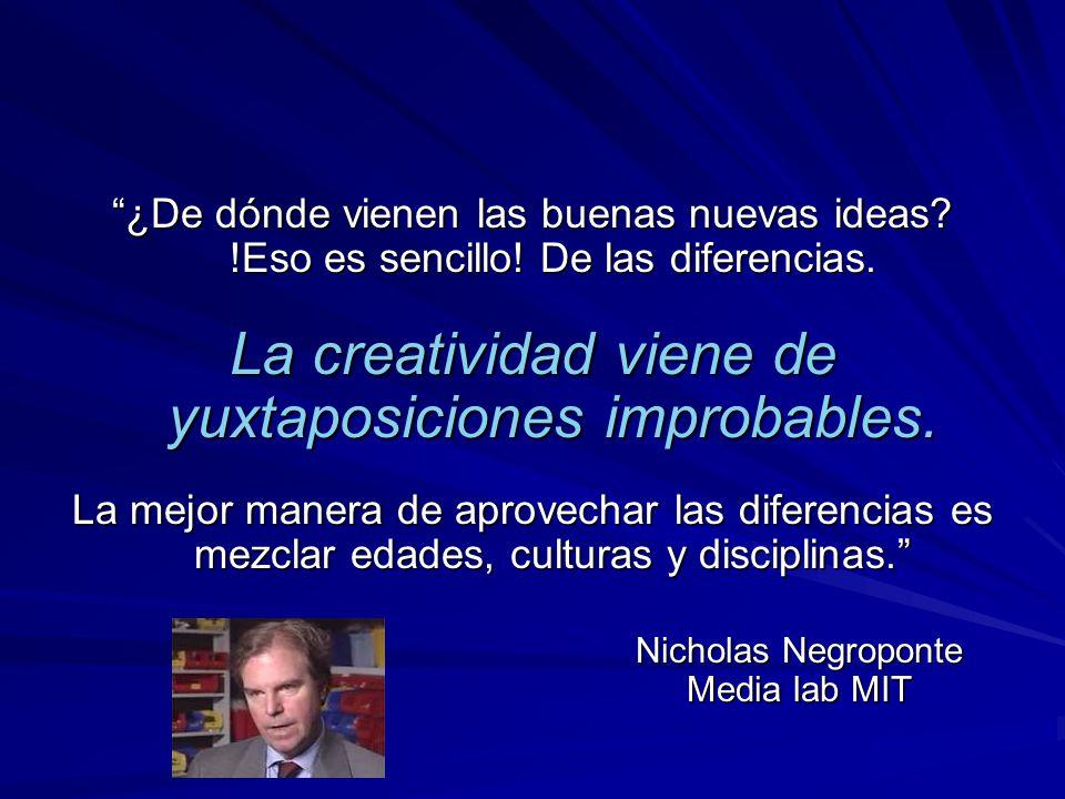 ¿De dónde vienen las buenas nuevas ideas? !Eso es sencillo! De las diferencias. La creatividad viene de yuxtaposiciones improbables. La mejor manera d