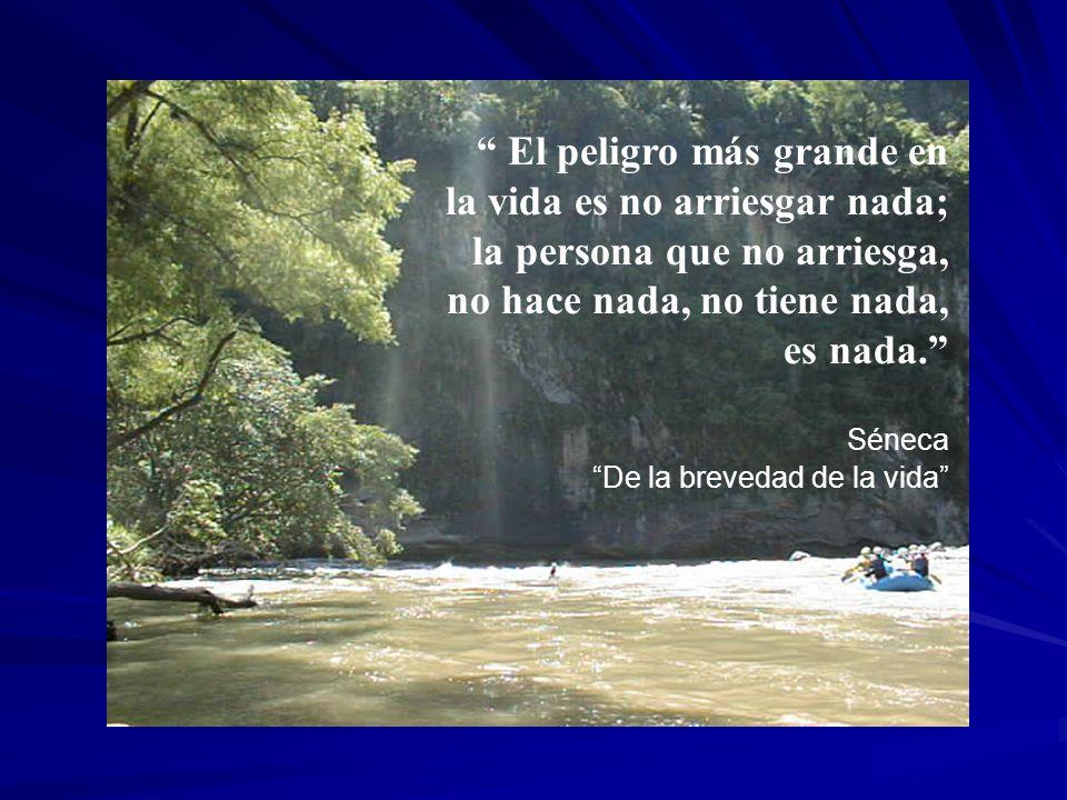 El peligro más grande en la vida es no arriesgar nada; la persona que no arriesga, no hace nada, no tiene nada, es nada. Séneca De la brevedad de la v