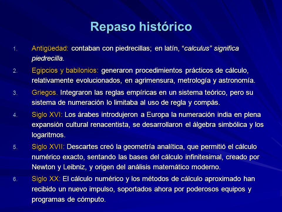 Repaso histórico 1. Antigüedad: contaban con piedrecillas; en latín, calculus significa piedrecilla. 2. Egipcios y babilonios: generaron procedimiento