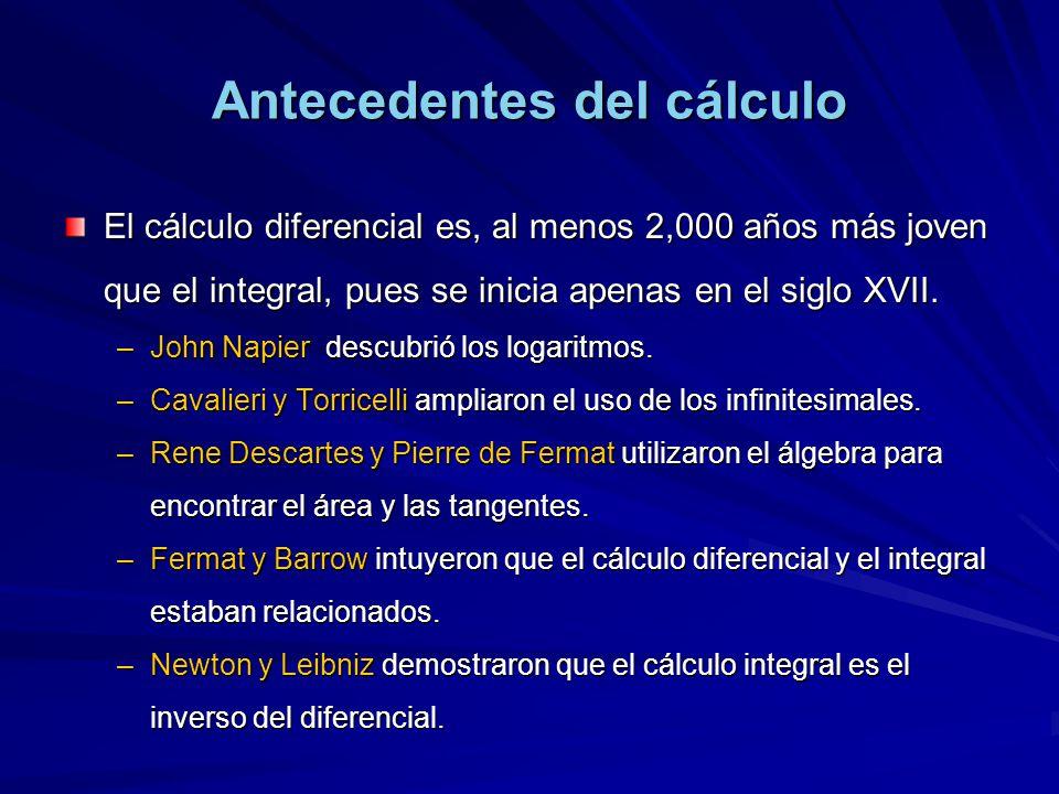Antecedentes del cálculo El cálculo diferencial es, al menos 2,000 años más joven que el integral, pues se inicia apenas en el siglo XVII. –John Napie