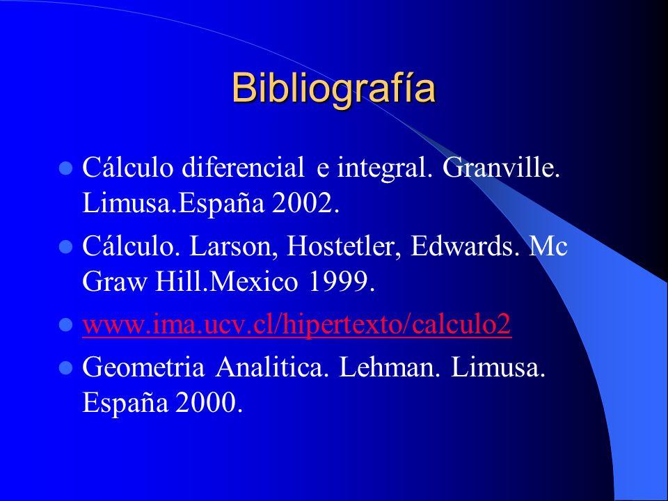 Bibliografía Cálculo diferencial e integral. Granville. Limusa.España 2002. Cálculo. Larson, Hostetler, Edwards. Mc Graw Hill.Mexico 1999. www.ima.ucv