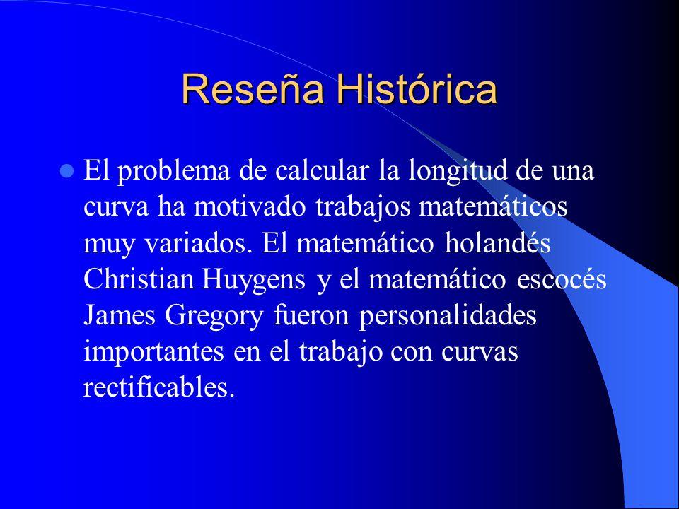 Reseña Histórica El problema de calcular la longitud de una curva ha motivado trabajos matemáticos muy variados. El matemático holandés Christian Huyg