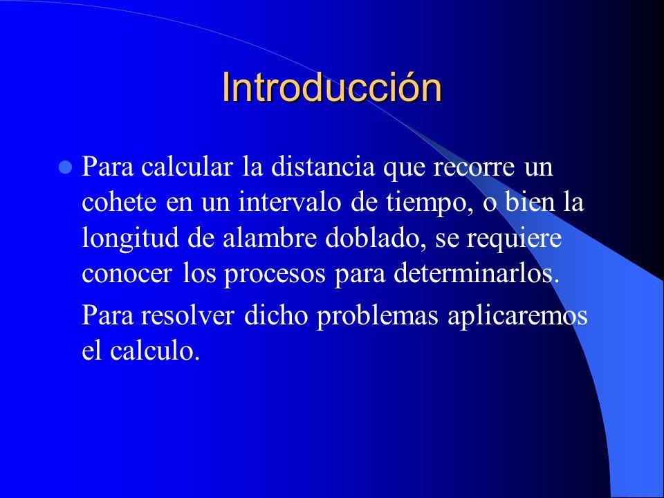 Introducción Para calcular la distancia que recorre un cohete en un intervalo de tiempo, o bien la longitud de alambre doblado, se requiere conocer lo