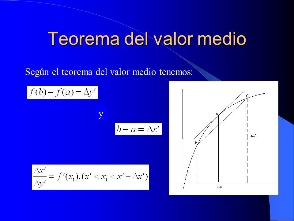 Teorema del valor medio Según el teorema del valor medio tenemos: y