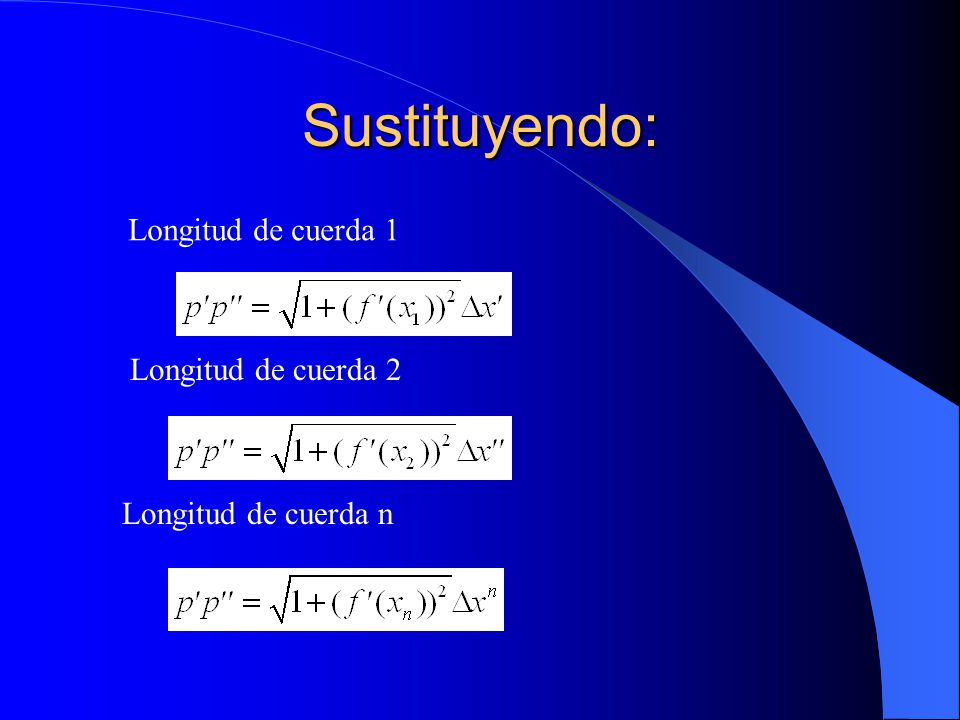 Sustituyendo: Longitud de cuerda 1 Longitud de cuerda 2 Longitud de cuerda n