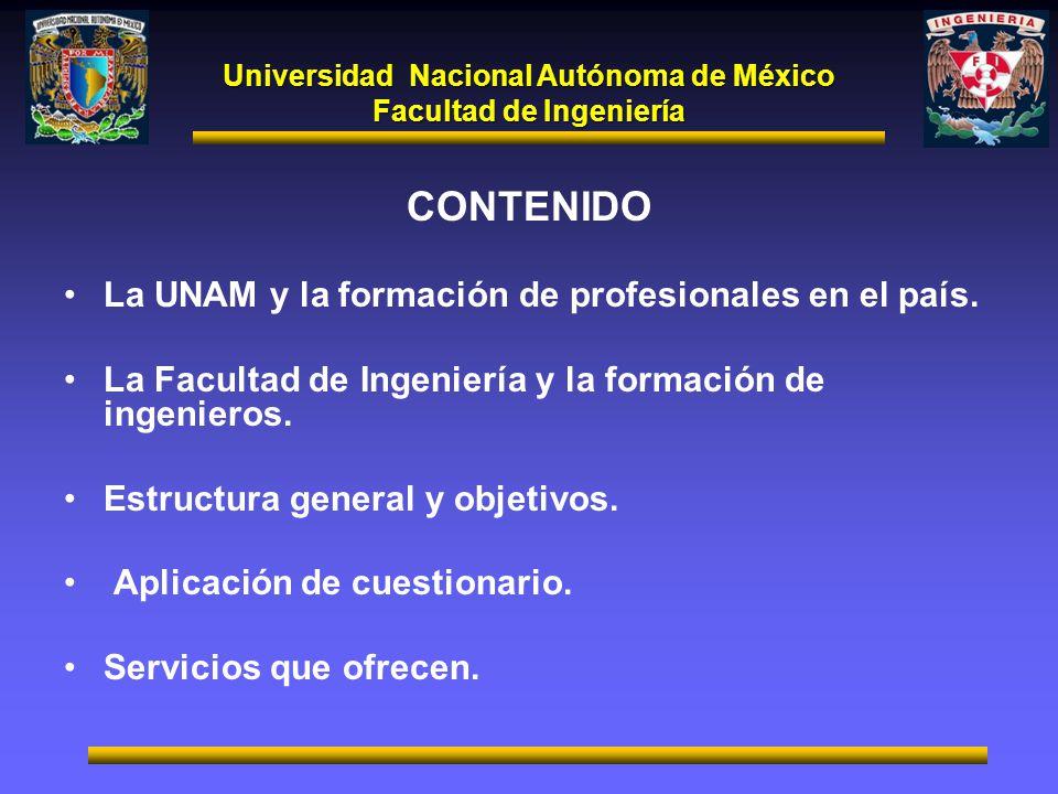 Universidad Nacional Autónoma de México Facultad de Ingeniería CONTENIDO La UNAM y la formación de profesionales en el país. La Facultad de Ingeniería