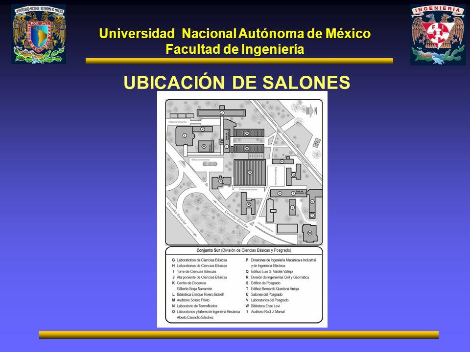 Universidad Nacional Autónoma de México Facultad de Ingeniería UBICACIÓN DE SALONES