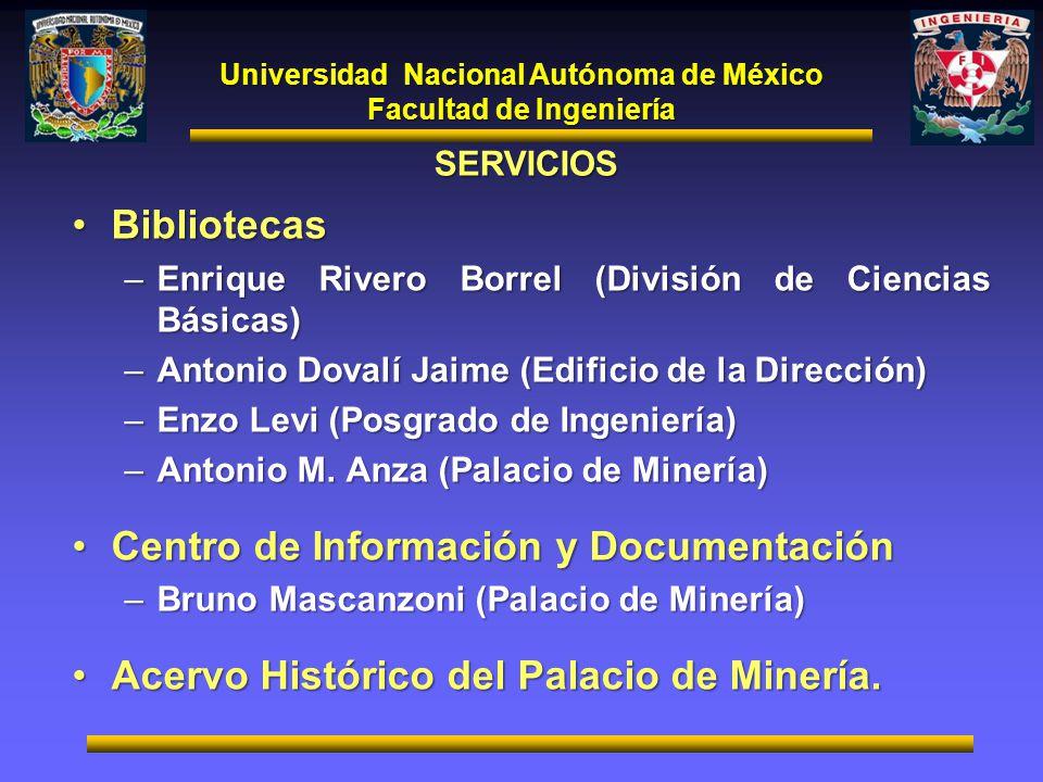 Universidad Nacional Autónoma de México Facultad de Ingeniería SERVICIOS BibliotecasBibliotecas –Enrique Rivero Borrel (División de Ciencias Básicas)