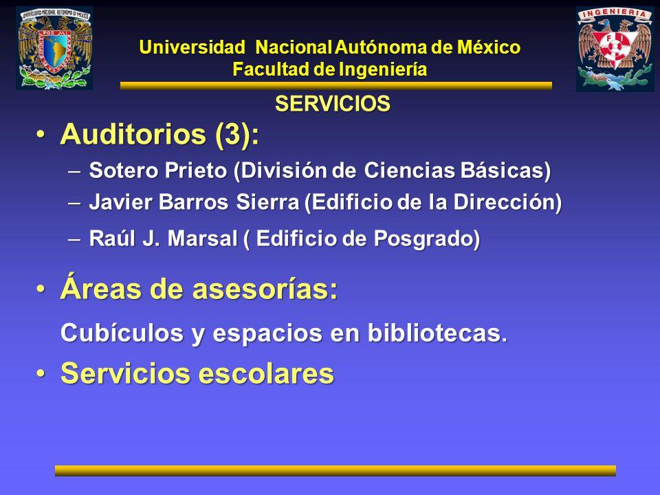 Universidad Nacional Autónoma de México Facultad de Ingeniería SERVICIOS Auditorios (3):Auditorios (3): –Sotero Prieto (División de Ciencias Básicas)