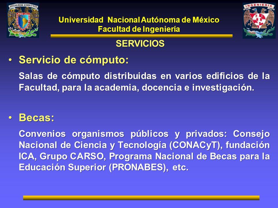 Universidad Nacional Autónoma de México Facultad de Ingeniería SERVICIOS Servicio de cómputo:Servicio de cómputo: Salas de cómputo distribuidas en var