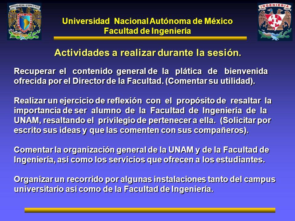 Universidad Nacional Autónoma de México Facultad de Ingeniería Actividades a realizar durante la sesión. Recuperar el contenido general de la plática