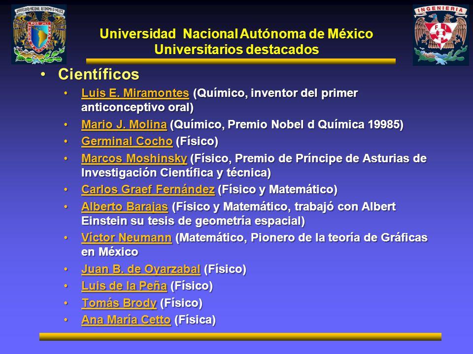Universitarios destacados CientíficosCientíficos Luis E. Miramontes (Químico, inventor del primer anticonceptivo oral)Luis E. Miramontes (Químico, inv